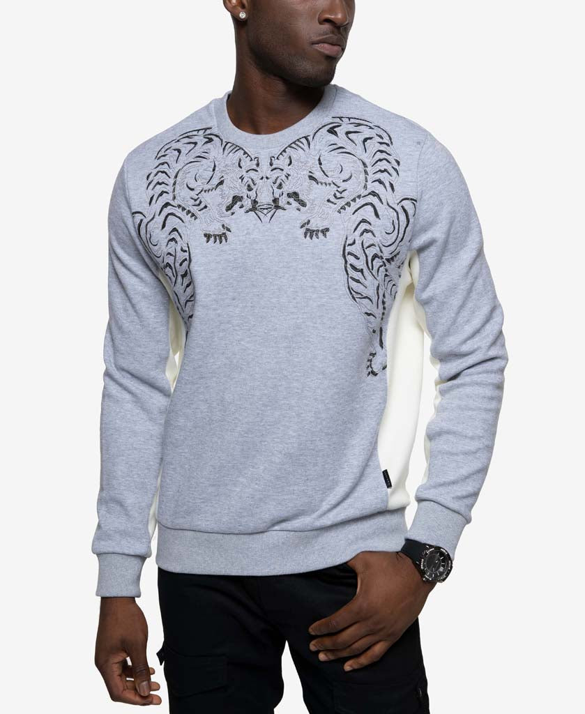 Long Sleeve Embroidered Tiger Crew