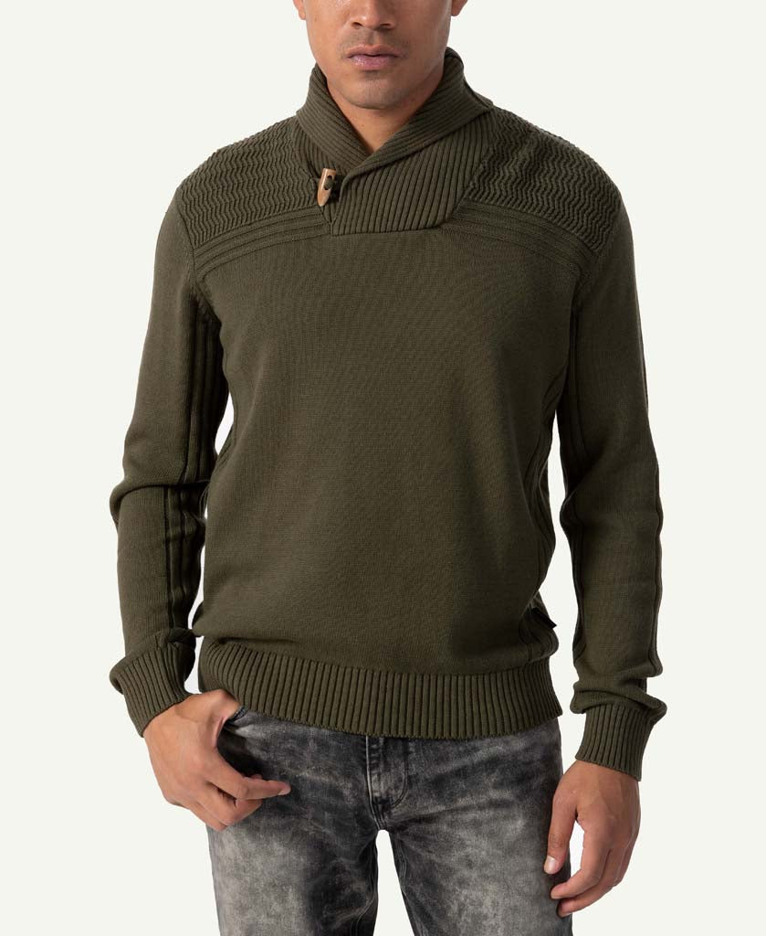 Motto Rib Shawl Neck Sweater