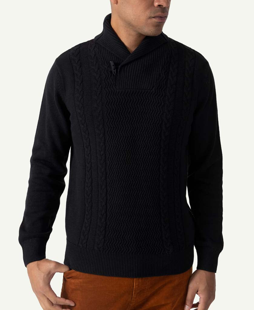 Motto Shawl Neck Sweater