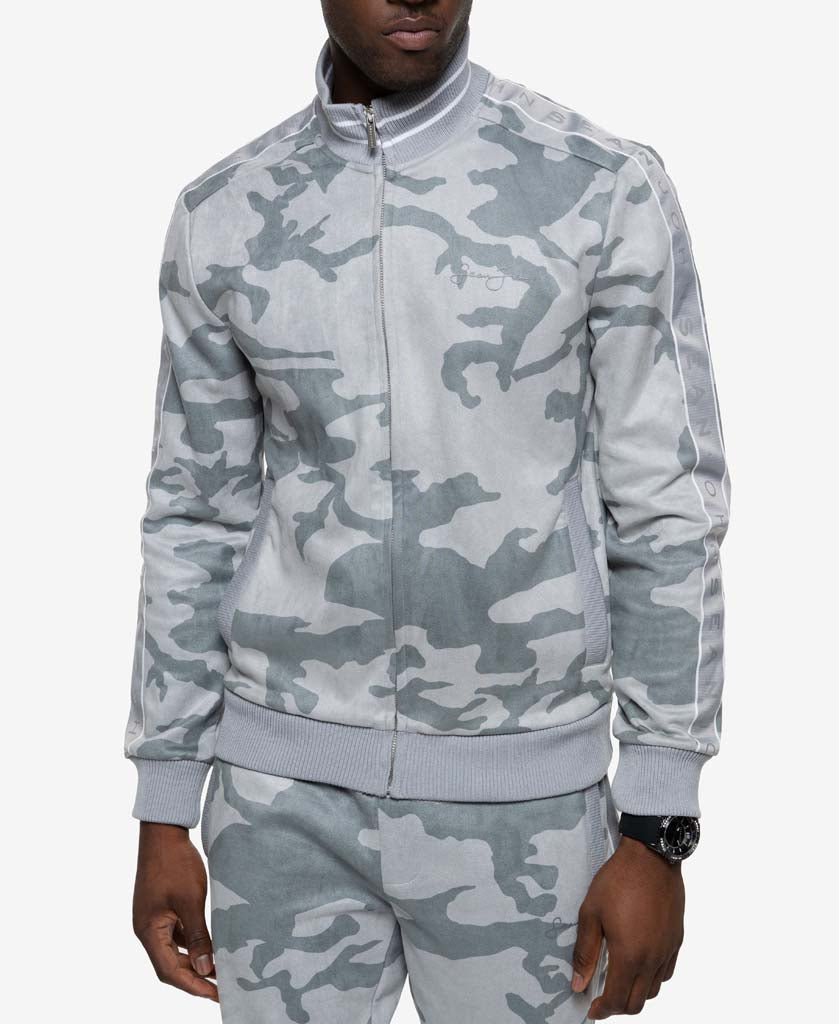 Printed Camo Faux Suede Track Jacket