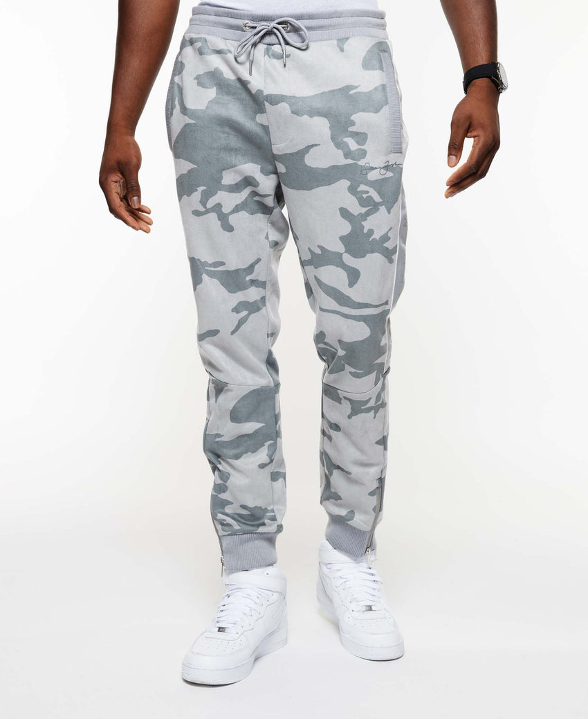 Printed Camo Faux Suede Track Pant