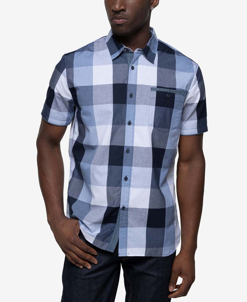 Short Sleeve Chambray Blocked Plaid Shirt