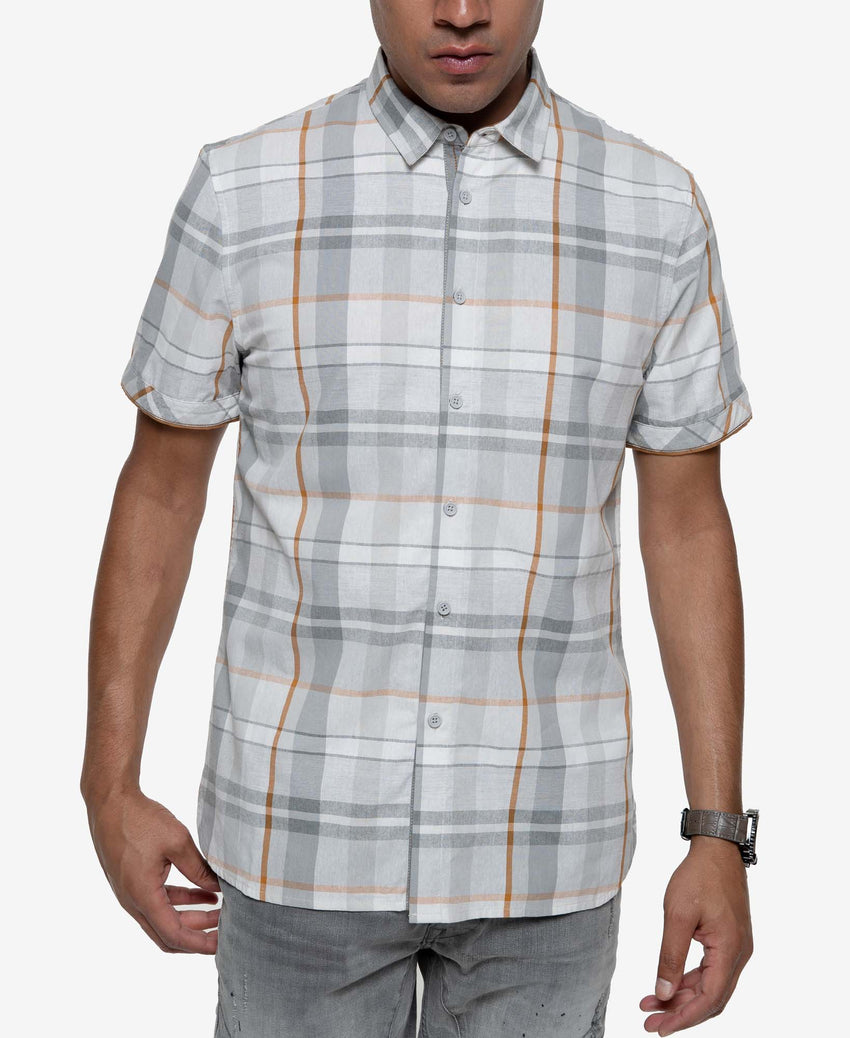 Short Sleeve  Multi Check Plaid Shirt