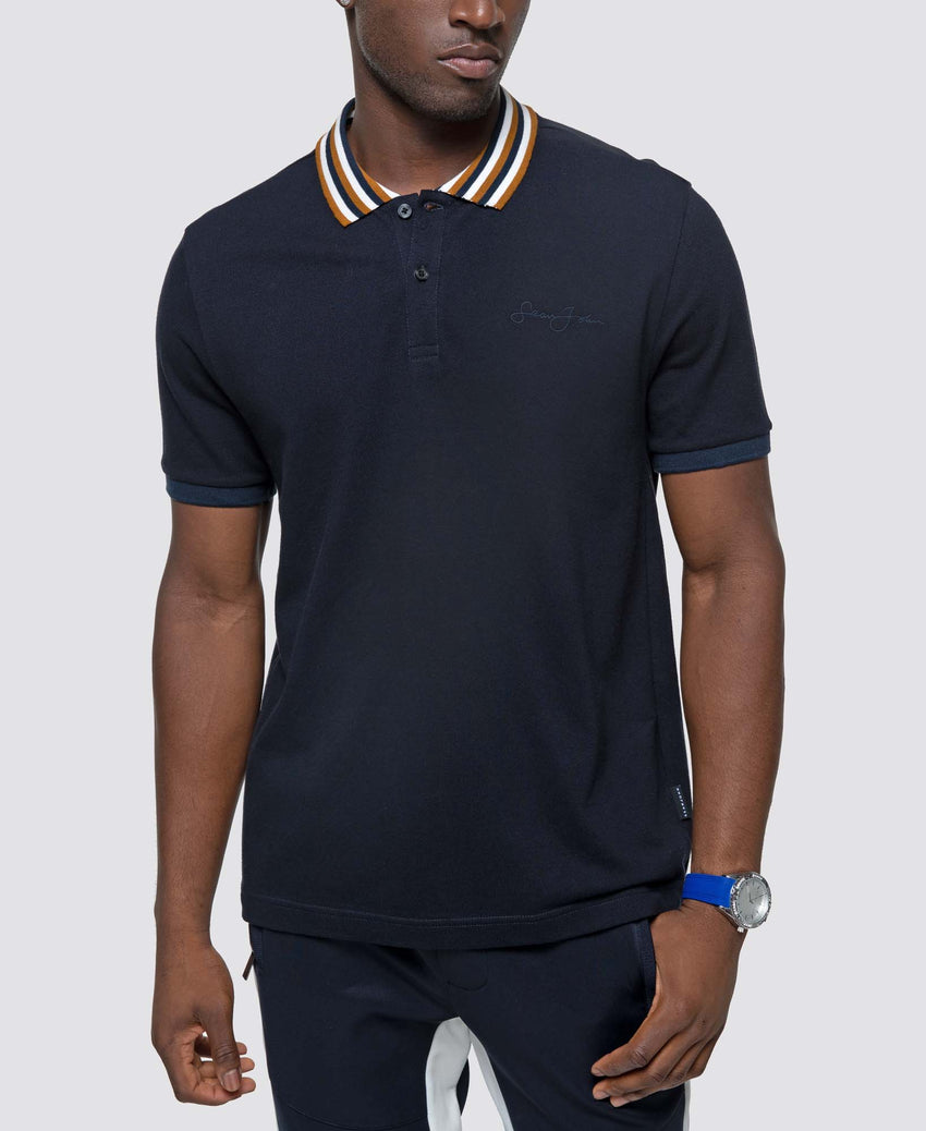 Short Sleeve Yarn Dye Ribbing Polo
