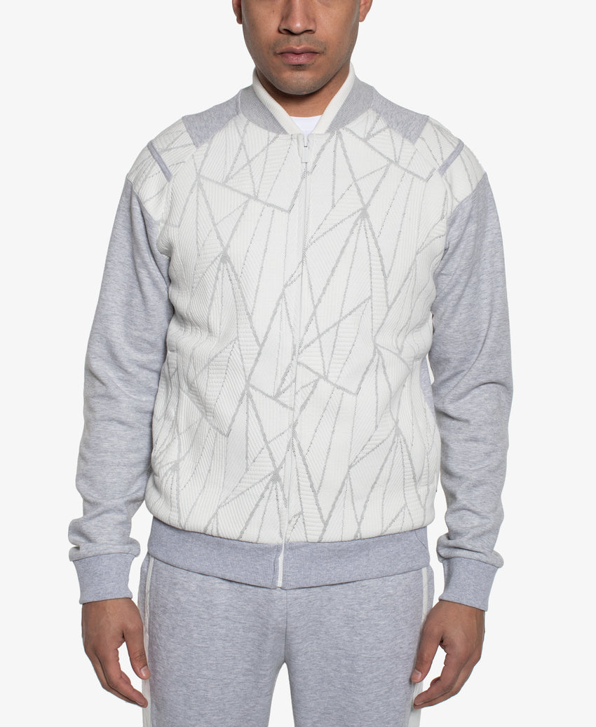 Contrasted Pieced Zip Bomber