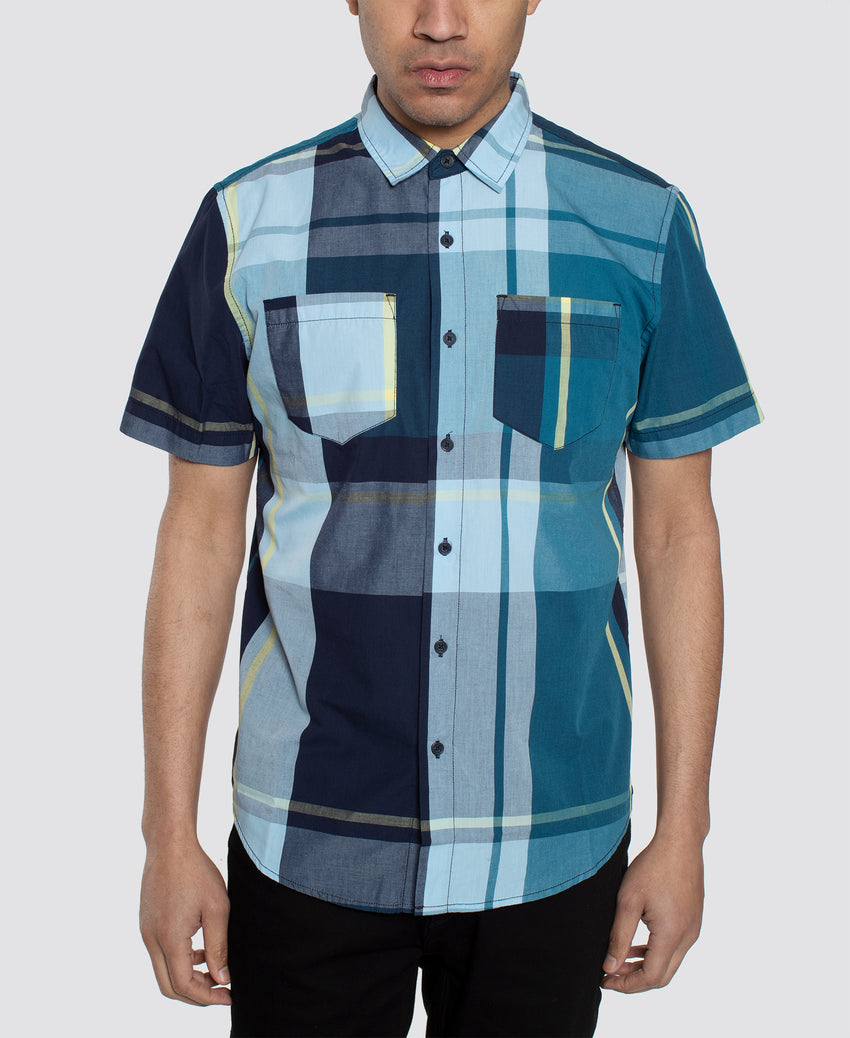 Short Sleeve Large Plaid Shirt