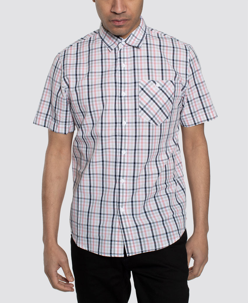 Short Sleeve Multi Color Check Shirt