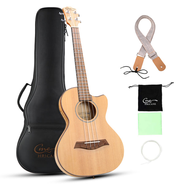 27 Inch Deadwood Solid Spruce Top Ultra Thin Cutaway Travel Tenor Ukulele