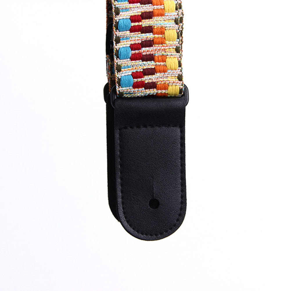 Hootenanny Style Retro Braided Cotton Genuine Leather Guitar  Ukulele Straps