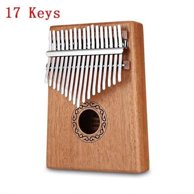 Kalimba 17 Keys Thumb Piano with Study Instruction and Tune Hammer