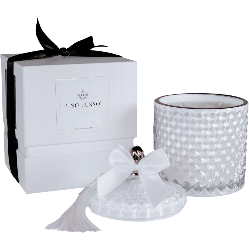 White Venetian Candle in Cieli Azzurri with gift box