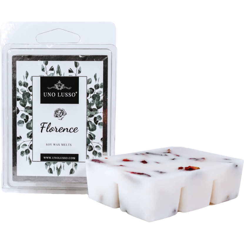 Florence luxury wax melts with red rose petal embeds