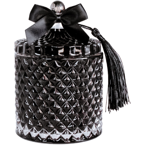 Black Venetian Decorative Candle Jar by Uno Lusso