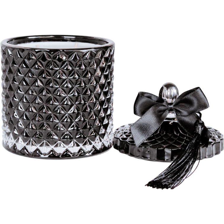 Bel Padre Black Venetian Candle Jar with lid, bow and tassle