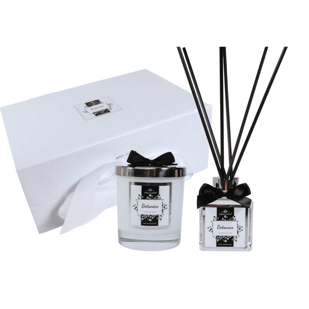 Calabria White Gloss Candle & Diffuser Gift Set