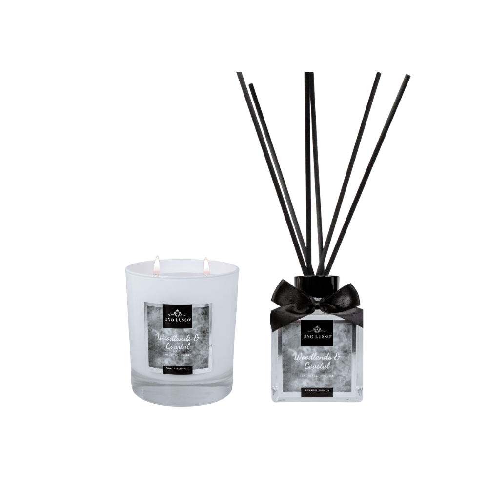 White gloss candle & Diffuser set by Uno Lusso