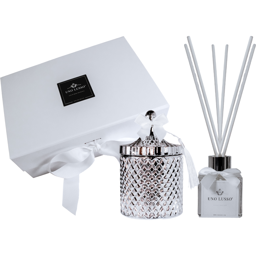 Silver venetian candle and diffuser gift set in Bellissimo
