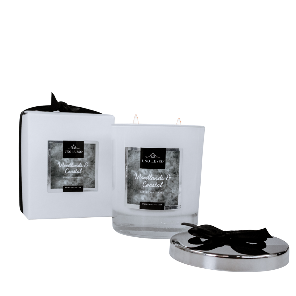 Two wick white gloss soy candle by Uno Lusso