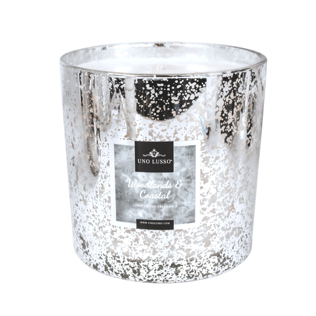 Enchanted Forest Metallic Grande Silver Candle