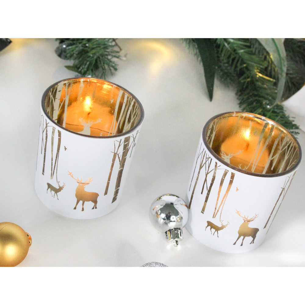 White & Gold Reindeer Tealight Holders