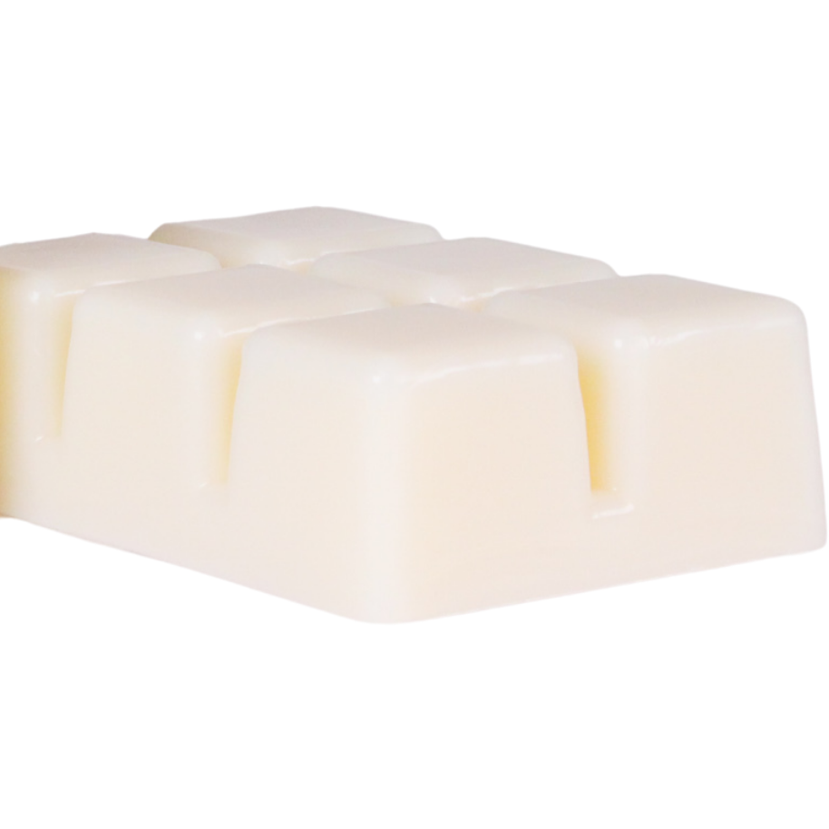 Close up six cube soy wax melt clamshell