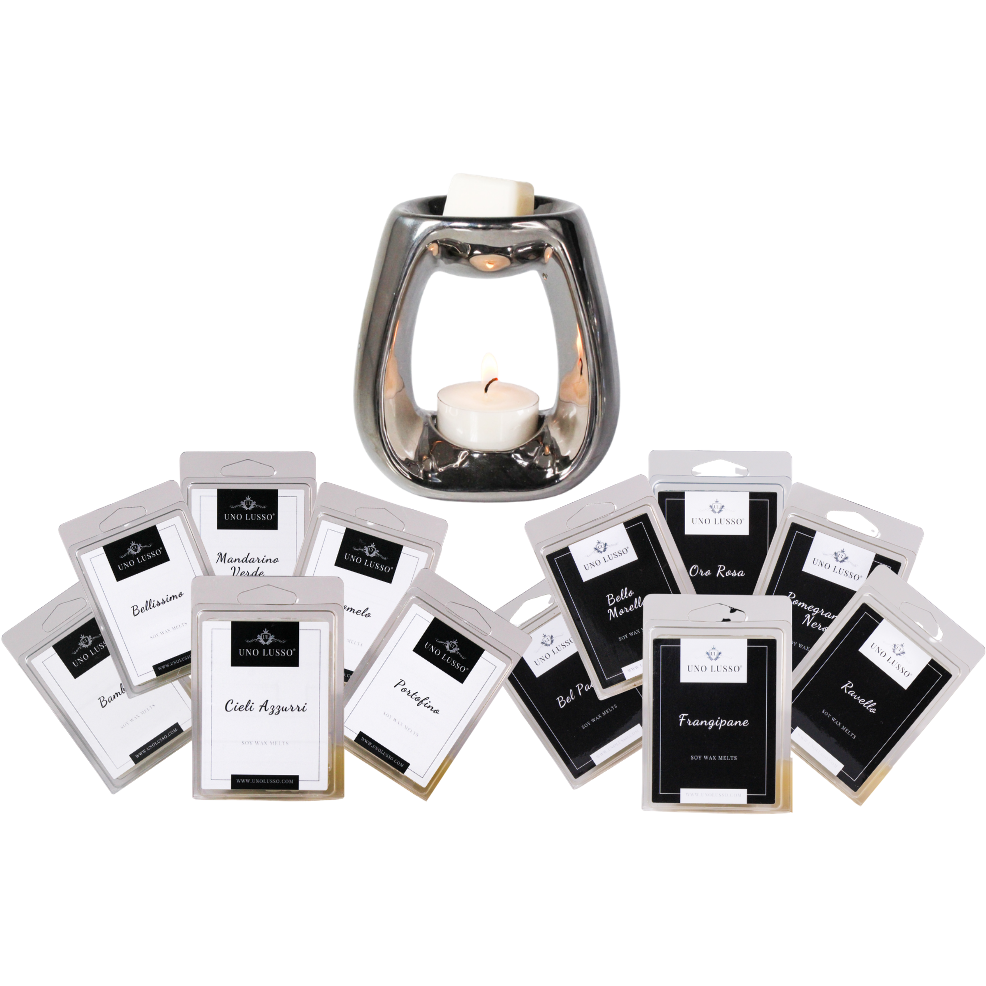 Signature Collection Wax Melt Clamshell Bundle with Chrome Silver burner