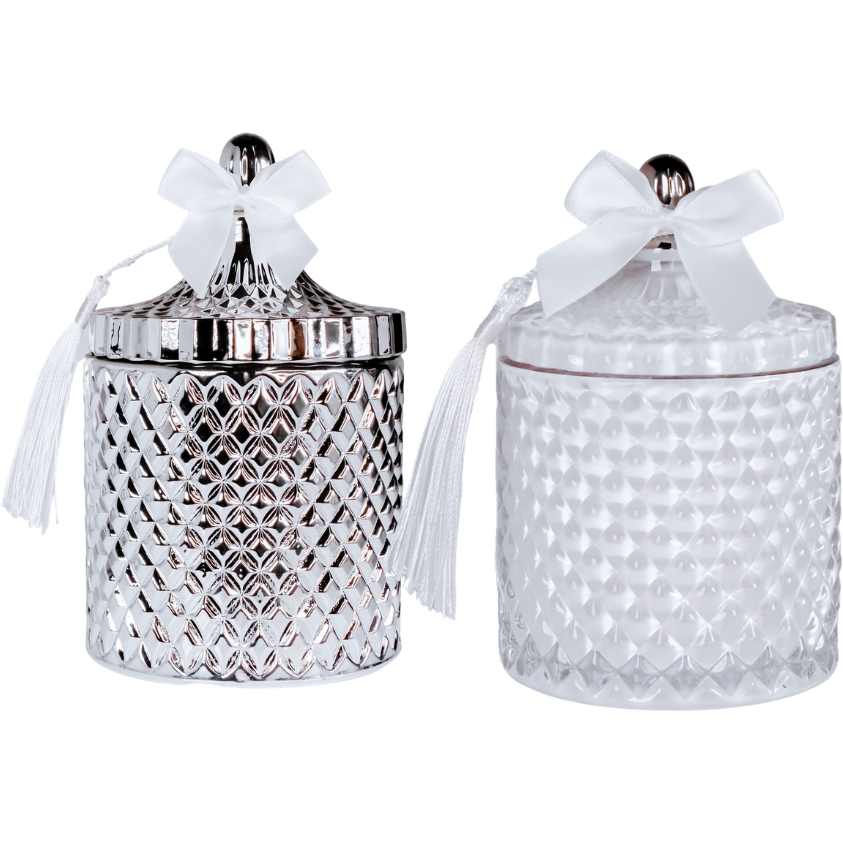 Cieli Azzurri Venetian Glass Candle jars - White or Silver
