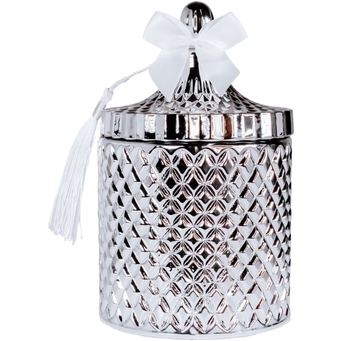 Grande Venetian Extra large Silver candle jar filled with Love Wax