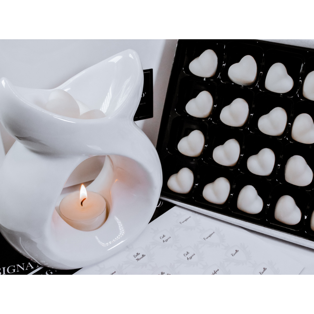 White ceramic wax burner with luxury wax melts