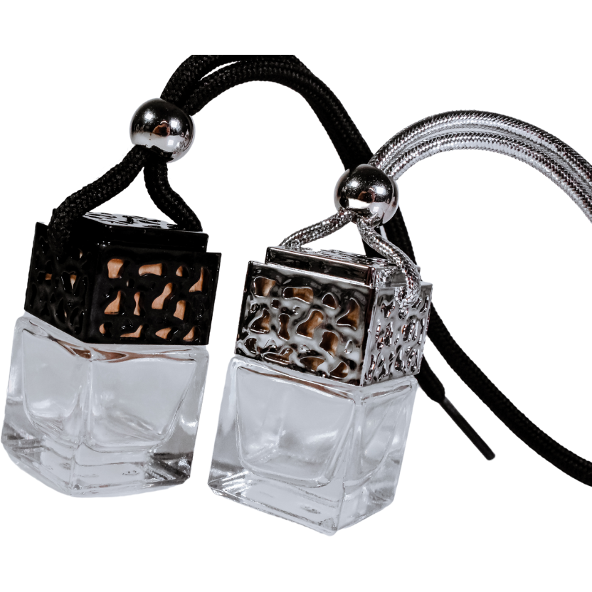 Close up of Enchanted Forest Car Diffusers - black and silver