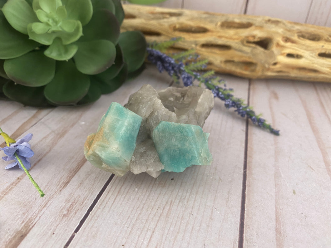 Raw Amazonite in Quartz | Amazonite Mineral Specimen | Crystals Stones Rocks & Minerals