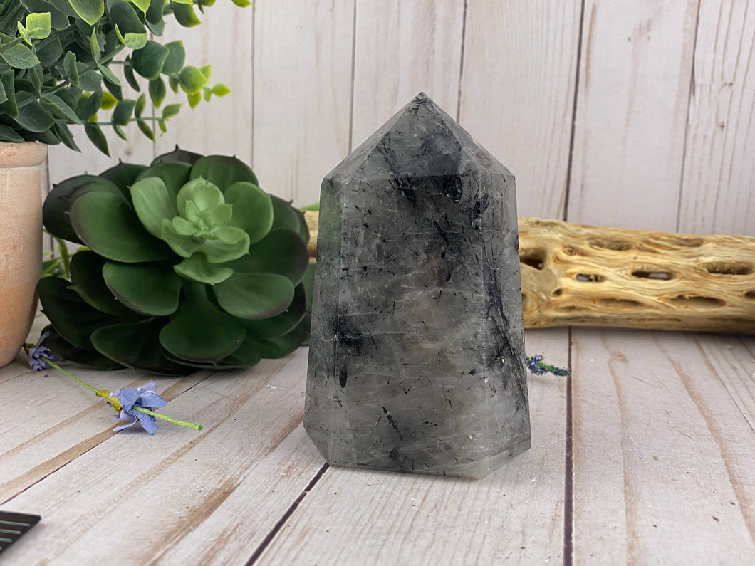 Black Tourmaline & Quartz Crystal Tower | Crystal Healing Generator Points