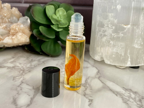 Revive Roll-On | Essential Oil Roller Blend | Crystal Infused Roller Bottle | Citrine Crystal Roll On | Aromatherapy & Botanicals | 10 ML