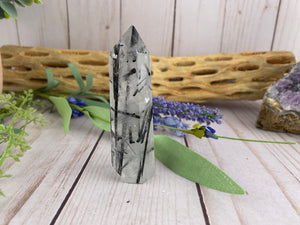 Black Tourmaline and Clear Quartz Tower | Healing Crystal Stone Mineral & Rocks