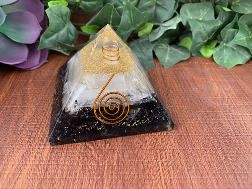Black Tourmaline & Selenite Orgone Pyramid