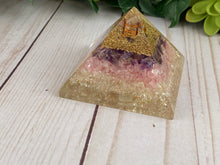 Load image into Gallery viewer, Rose Quartz, Amethyst, and Clear Quartz Orgonite Pyramid