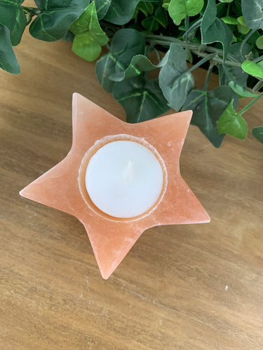 Peach Selenite Candle Holder