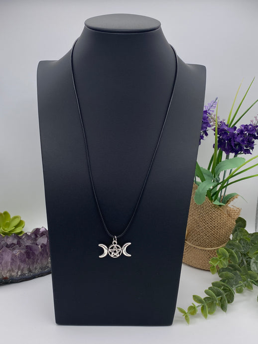 Triple Moon Necklace | Pentagram Moon Pendant | Pentacle Vegan Leather Rope Accessory