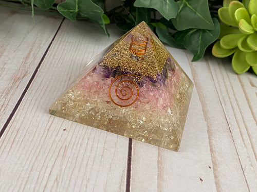 Rose Quartz, Amethyst, and Clear Quartz Orgonite Pyramid