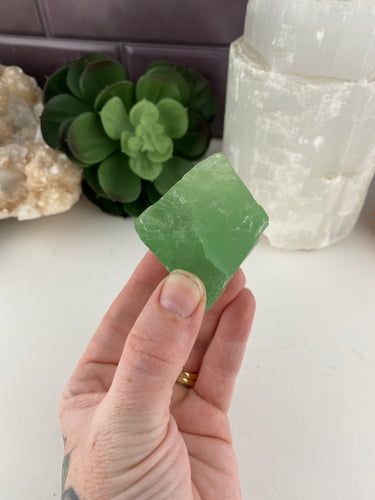 Rough Fluorite Octahedron Crystal (1) | Green Healing Crystals Stones Rocks & Raw Minerals