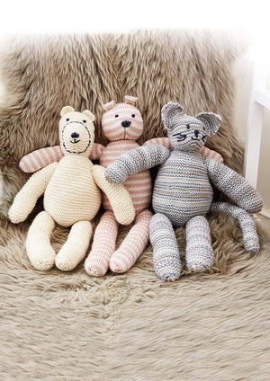 Mungo, Stella and Archie Soft Toys - From The Precious Knits Book by Grace Jones - emmshaberdasheryshop