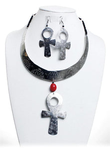 Silver Ankh Eternal Life Earring & Necklace Set