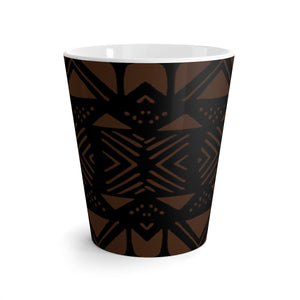 Latte mug African Print | Brown Mud Cloth Print Home Decor | Dining Coffee Cup