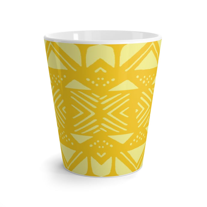 Latte mug African Print | Yellow Mud Cloth Print Home Decor | Dining Coffee Cup