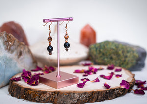 Phantom Protection - Copper Earring - Phantom Quartz and Obsidian