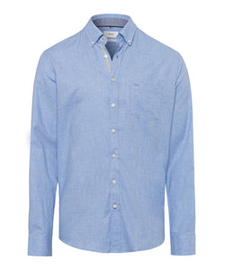 Brax - Overhemd button-down - Dries - Flannel - Licht blauw