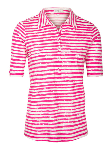 Erfo - Polo in streepdessin - Cyclaam roze met wit