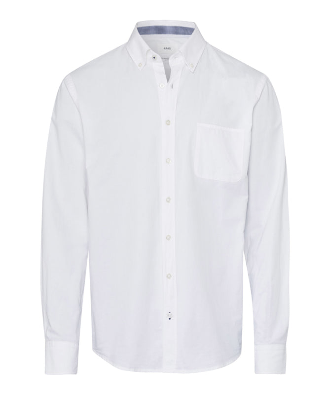 Brax - Overhemd button-down l/m - Donald - Oxford - wit