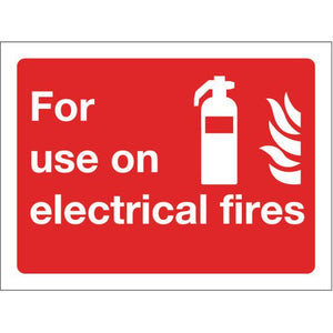 Sign For Use On Electrical Fires 100x75 Aluminium