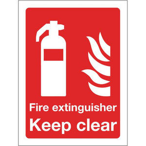 Sign Fire Extinguisher Keep Clear 300x400 Rigid Plastic